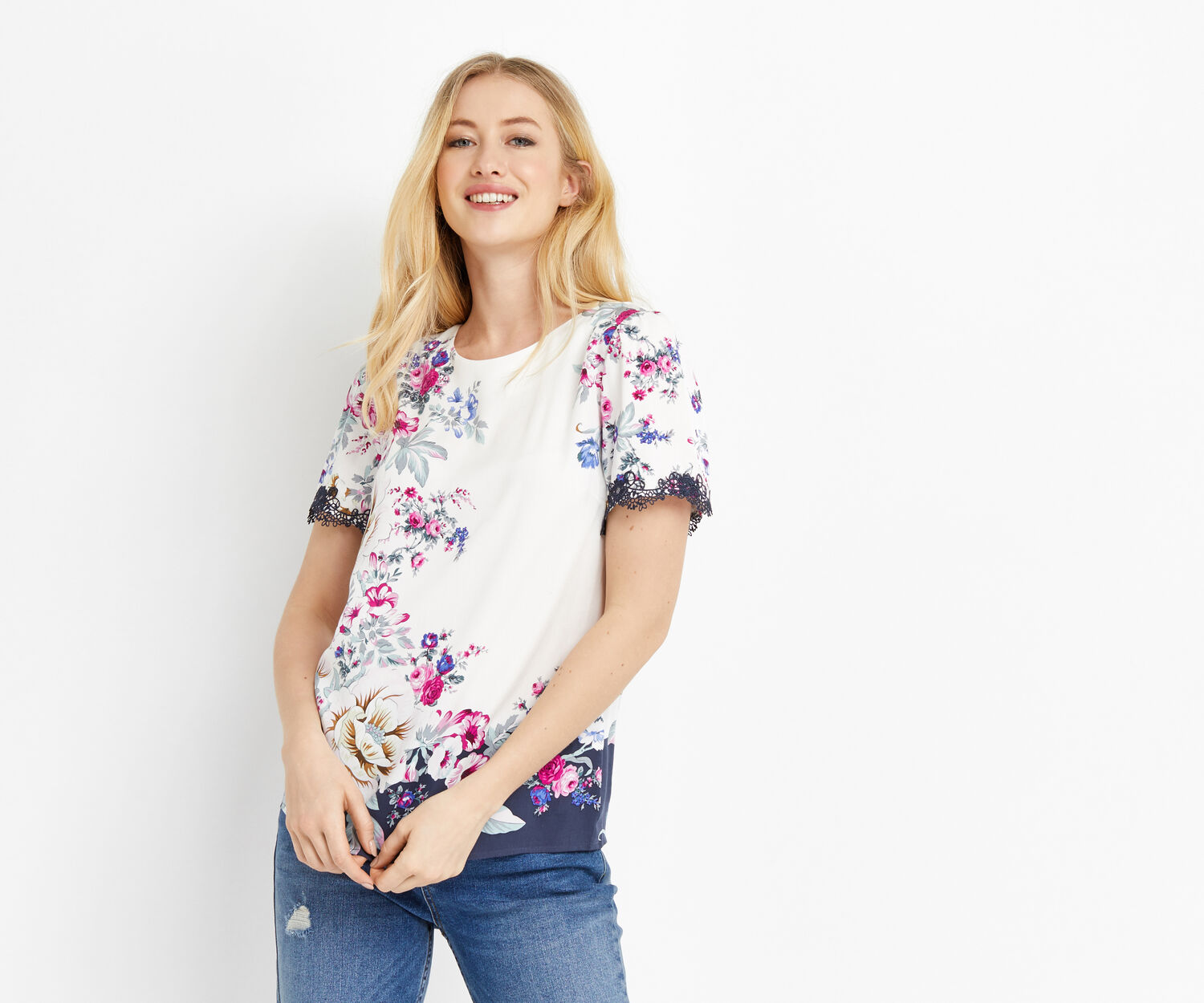 Oasis, LAUNDERED CHINTZ TEE Multi Grey 1