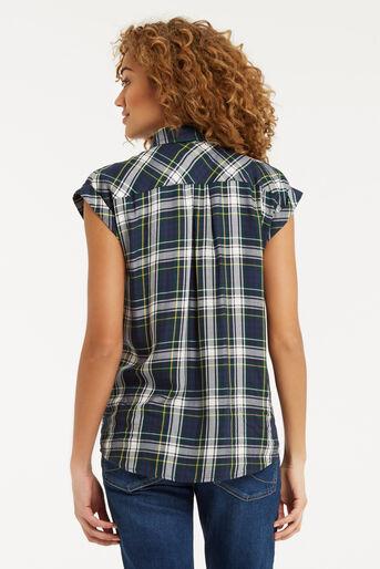 Oasis, Roll Sleeve Check Shirt Multi Green 3
