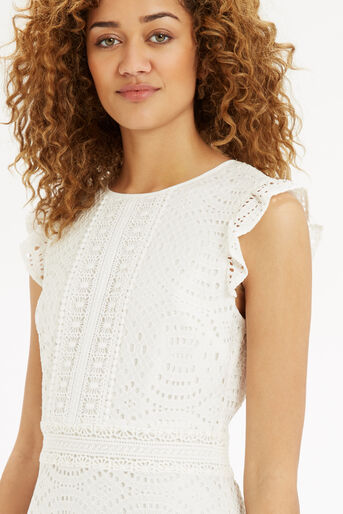 Oasis, Geo Patched Lace Dress Off White 4
