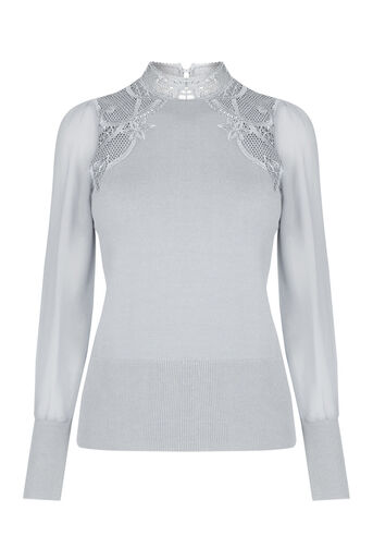 Oasis, Lace & sheer sleeve formal kni Mid Grey 0