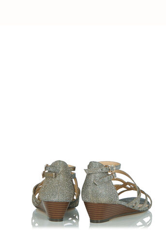 Oasis, Sparkle Wedge Sandals Multi Silver 2