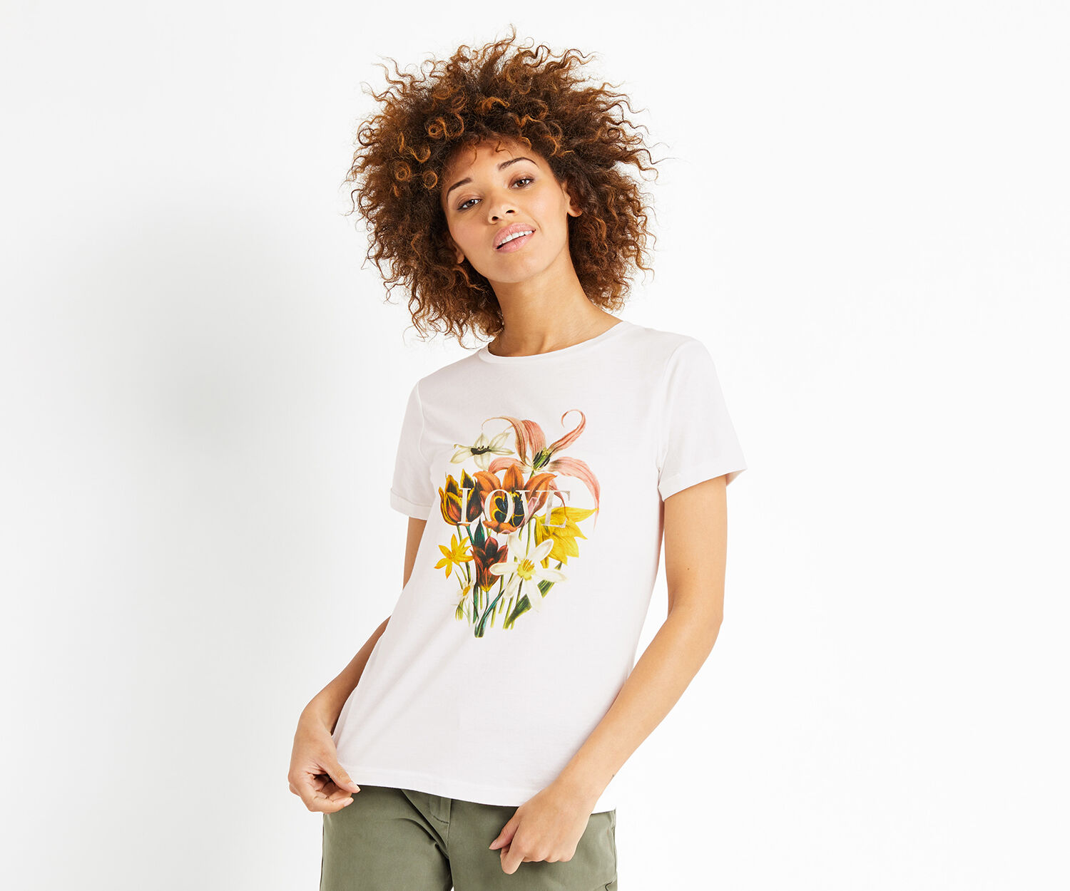 Oasis, LOVE BOUQUET T-SHIRT Cream 1