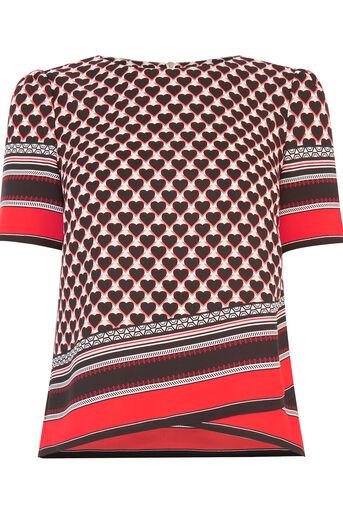 Oasis, Geo Heart Stripe T-Shirt Multi 0