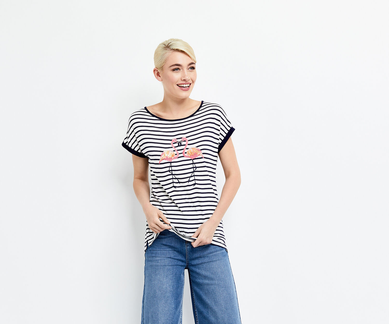 Oasis, stripe kissing flamingo tee Multi Blue 1