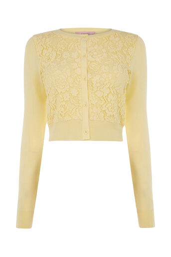 Oasis, Lace front cardi Pale Yellow 0