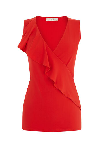 Oasis, Ruffle Wrap Top Mid Red 0
