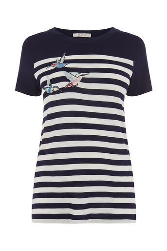 Oasis, EMBROIDERED BIRD STRIPE TEE Multi Blue 0