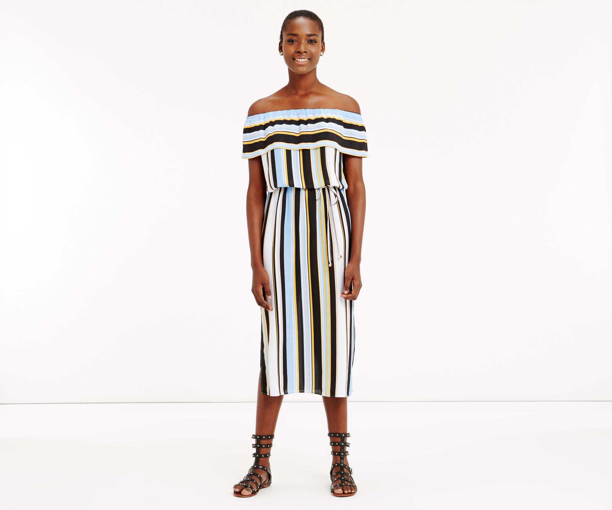 Oasis, Stripe Bardot Dress Multi 1