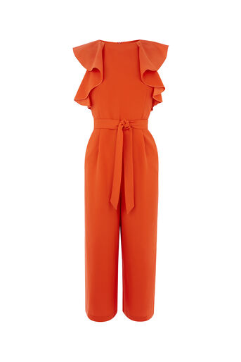 Oasis, RUFFLE TOP JUMPSUIT Rich Red 0