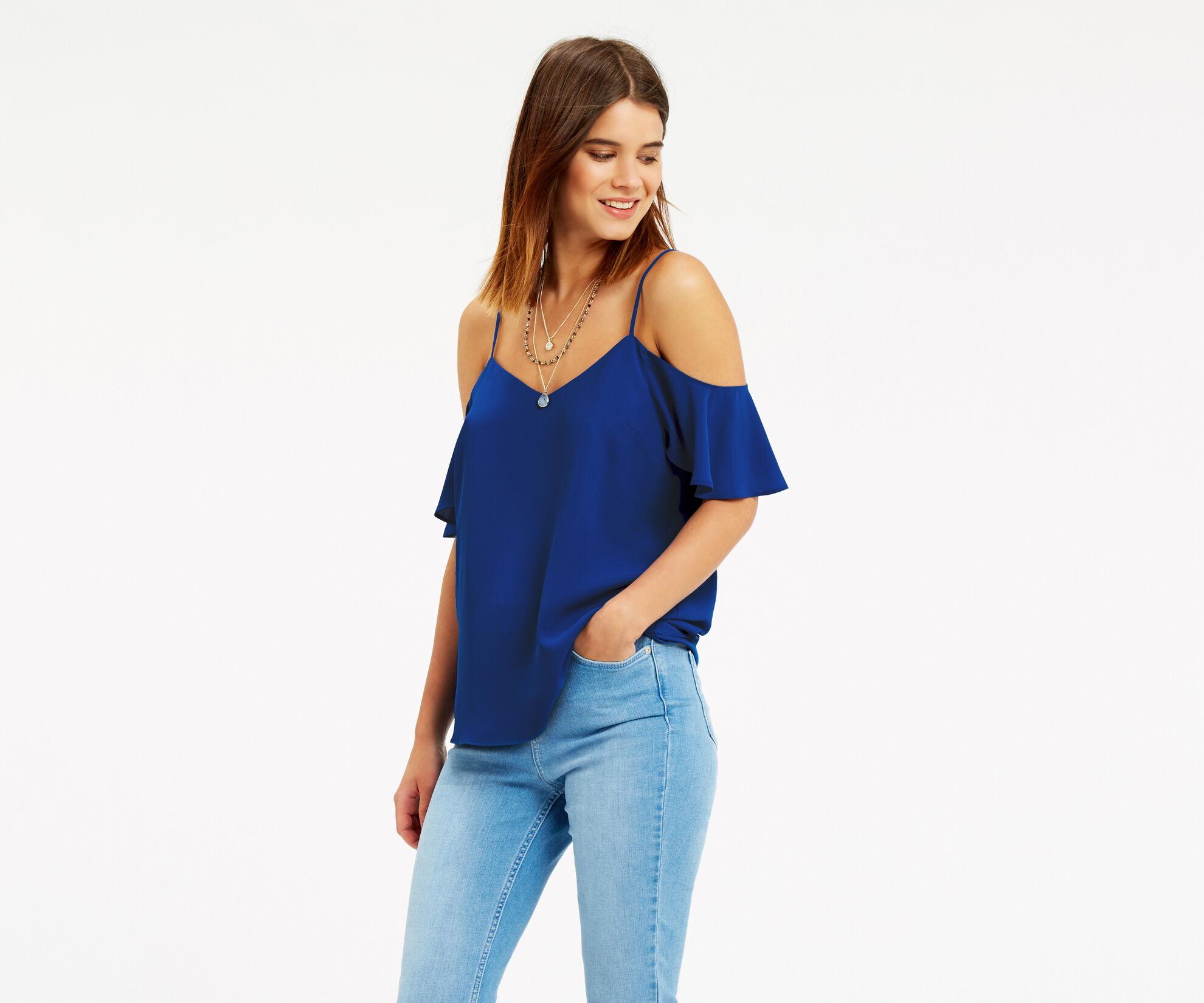Oasis, Cold Shoulder Cami Rich Blue 1