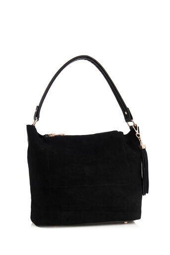 Oasis, HONOUR SUEDE PATCHED HOBO BAG Black 2