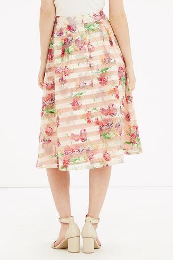 Oasis, Floral Organza Midi Skirt Multi Natural 3
