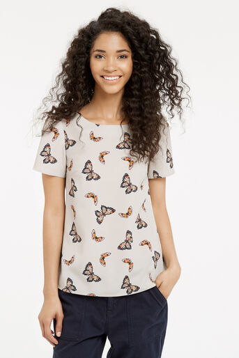Oasis, Butterfly Print T-Shirt Mid Grey 1