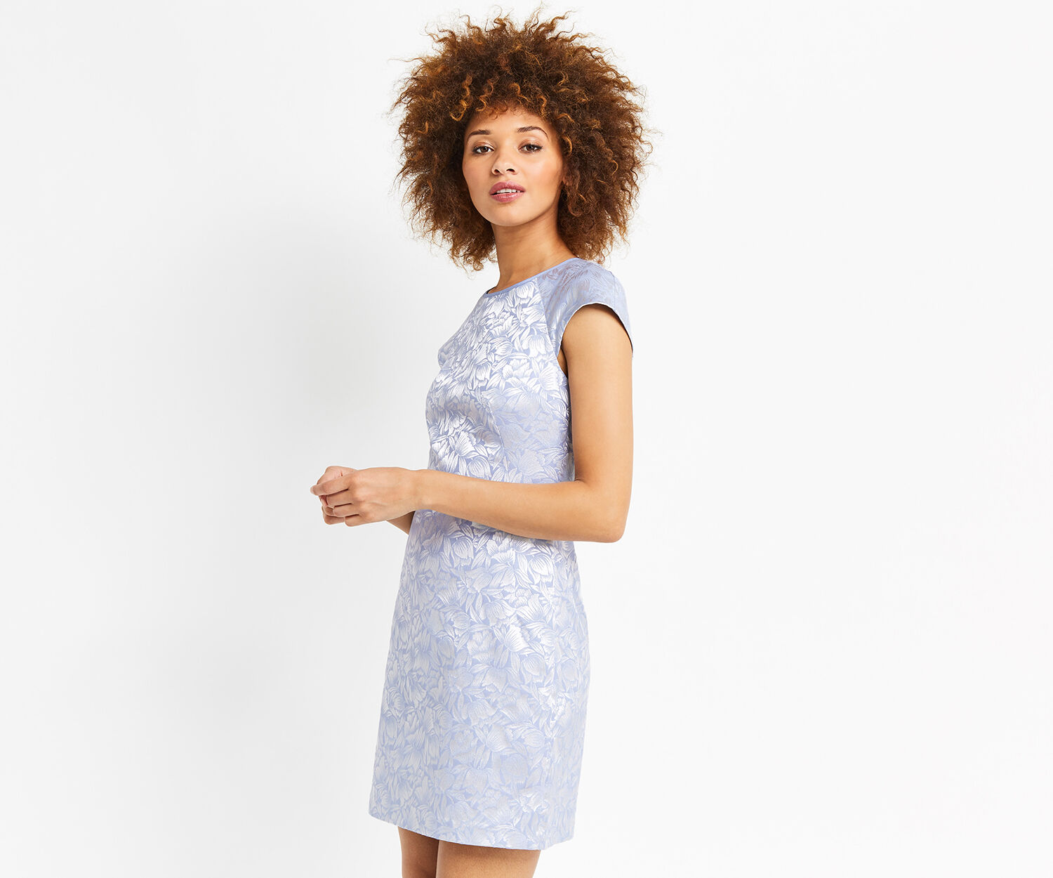 Oasis, JACQUARD SHIFT DRESS Multi Blue 1