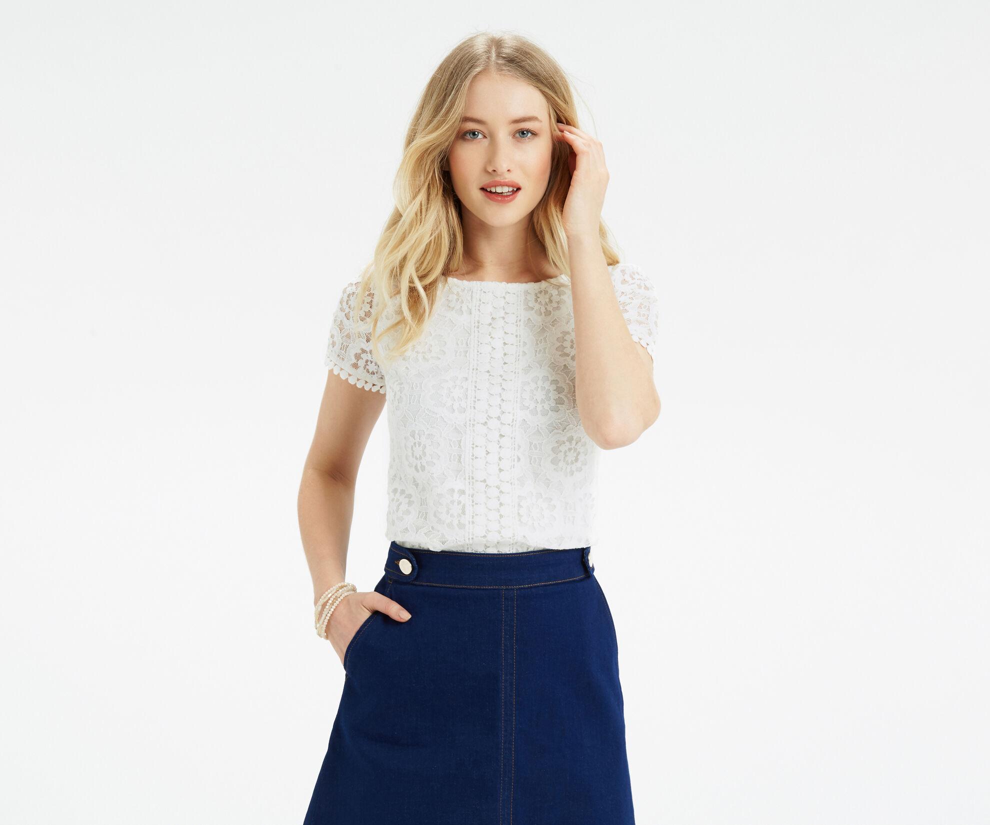 Oasis, Isla Lace T-Shirt Off White 1