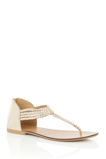 Oasis, LEATHER PISA PLAIT SANDAL Gold 0
