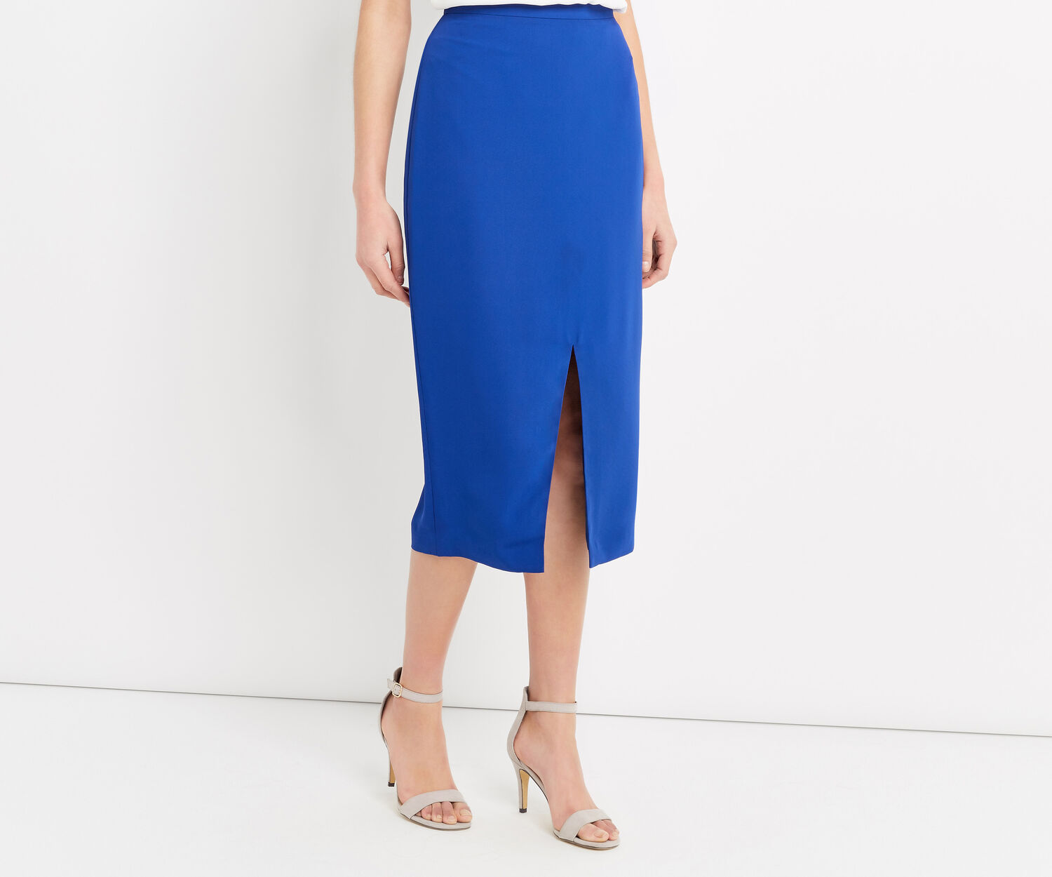 Oasis, SPLIT FRONT MIDI SKIRT Rich Blue 1