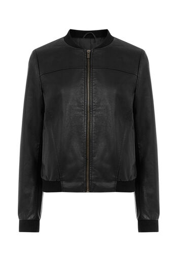 Oasis, FAUX LEATHER BOMBER JACKET Black 0