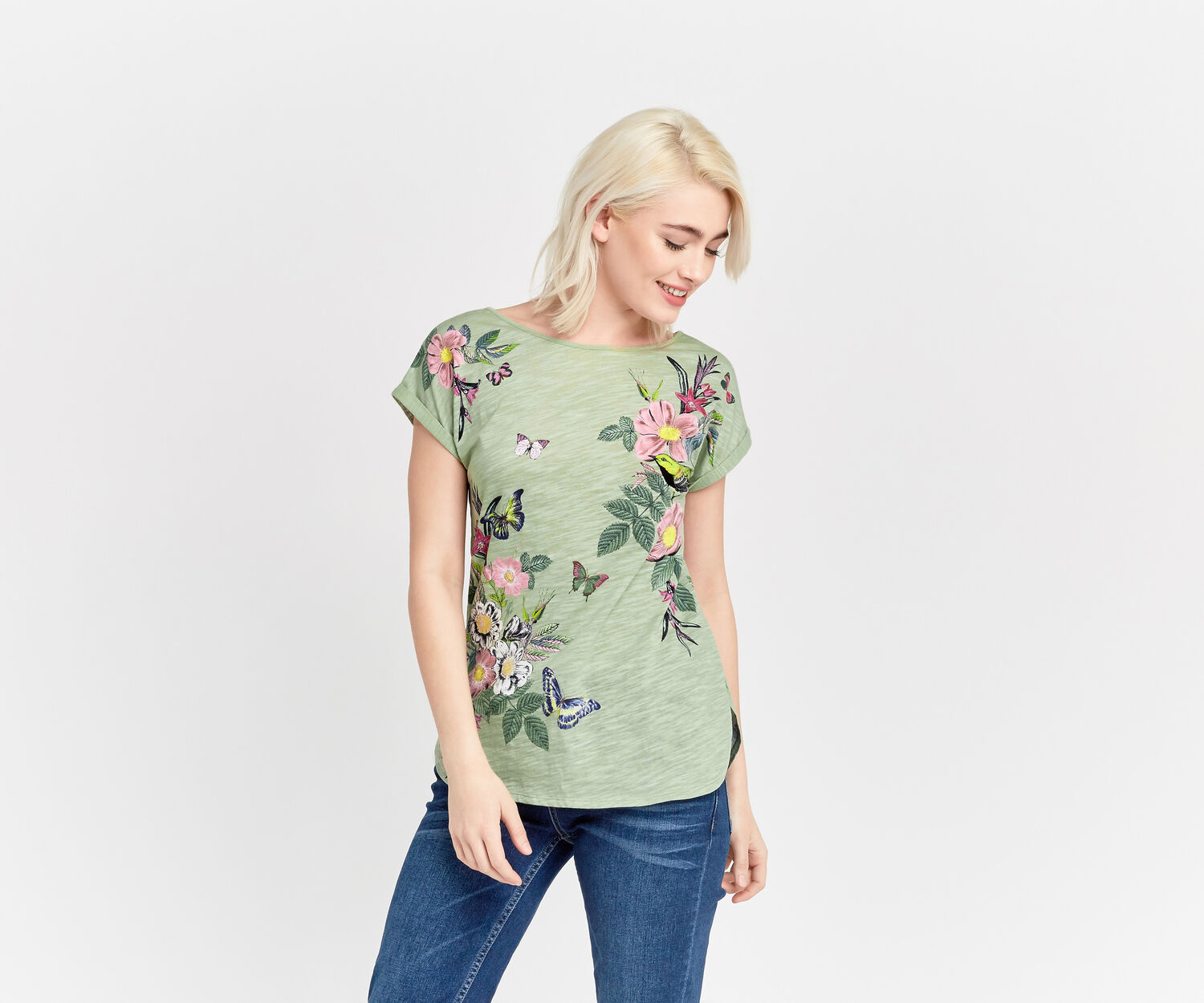 Oasis, FLORAL PLACEMENT PRINT TEE Khaki 1