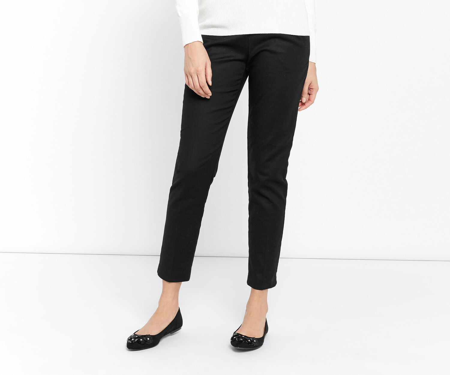 Oasis, CLASSIC COTTON TROUSERS Black 1