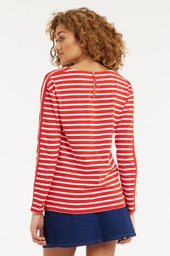 Oasis, Stripe Long Sleeved Top Multi Red 3