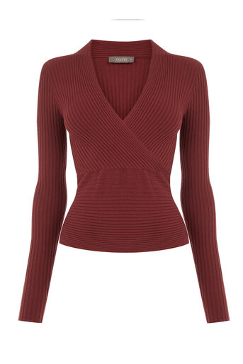 Oasis, RIB WRAP TOP Mid Brown 0