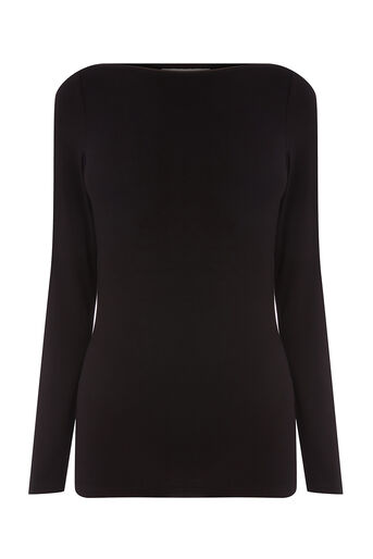 Oasis, ENVELOPE NECK TOP Black 0