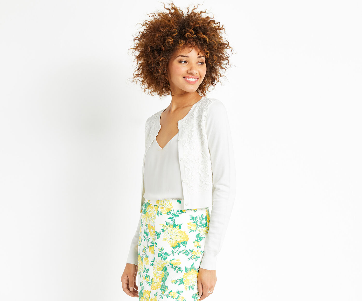 Oasis, Lace front cardi Off White 1