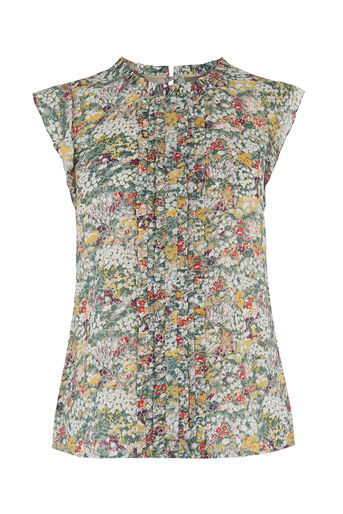 Oasis, Ditsy Frill Top Multi Grey 0
