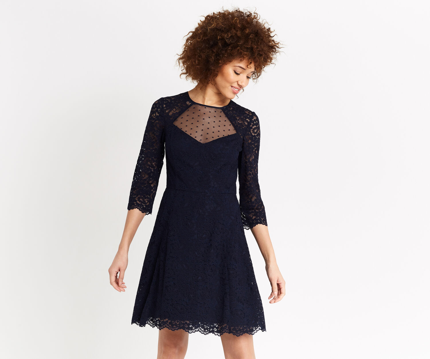 Oasis, LACE SLEEVE SKATER DRESS Navy 1