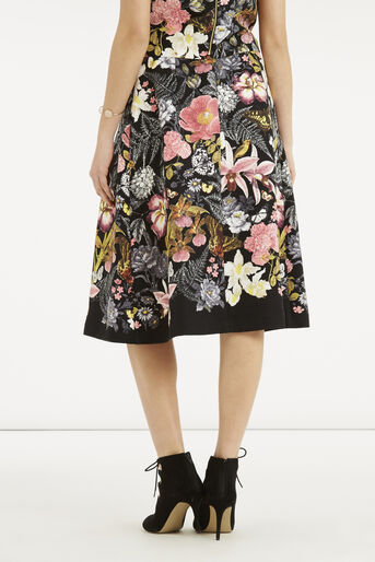 Oasis, Botanical Placement Midi Skirt Multi Black 3