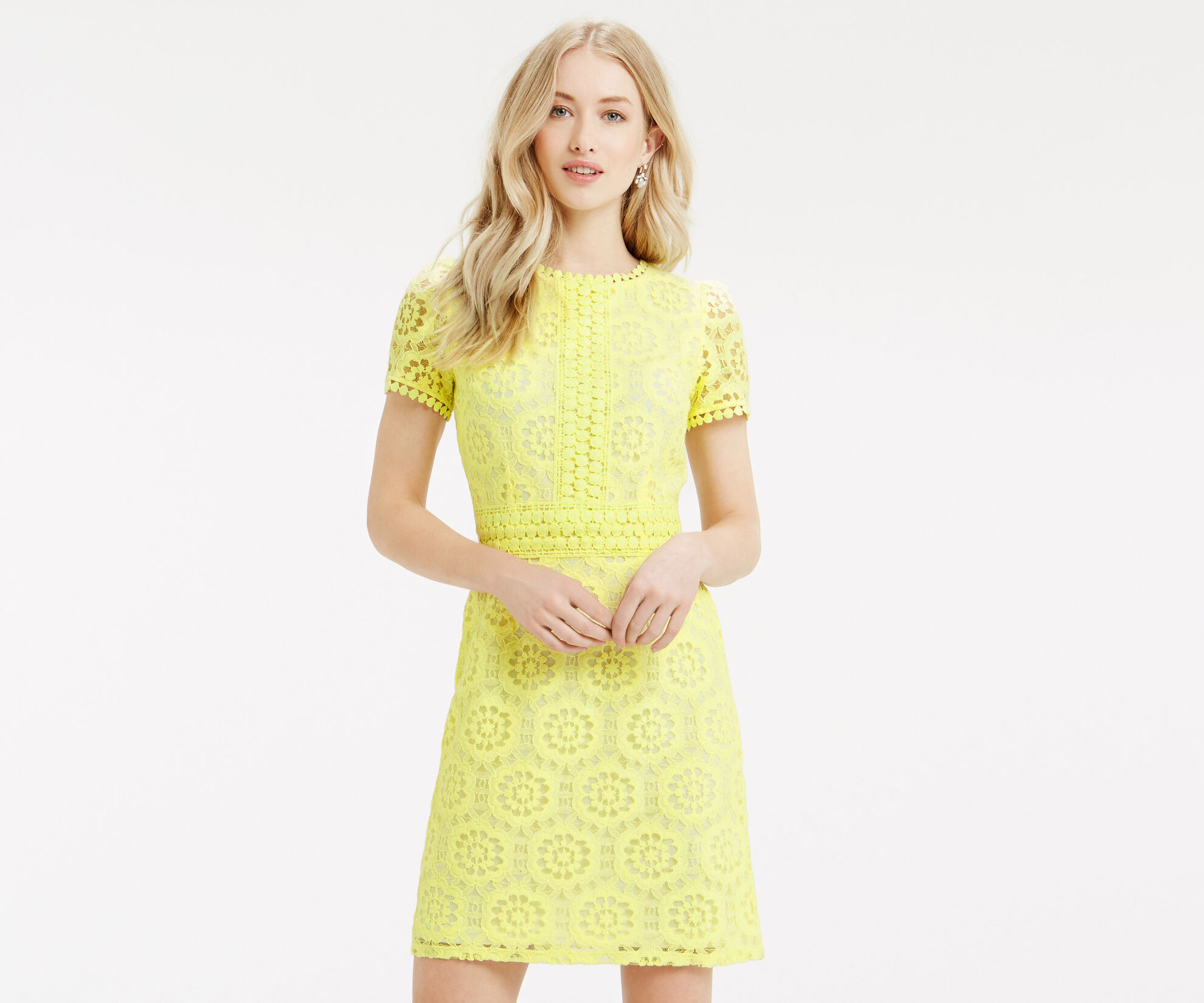 Oasis, Isla Lace Dress Bright Yellow 1