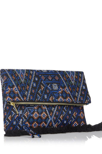Oasis, Blue Aztec Clutch Multi Blue 2