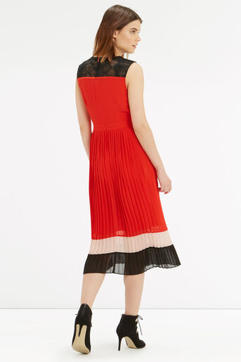 Oasis, Colour Block Pleat Dress Multi 3