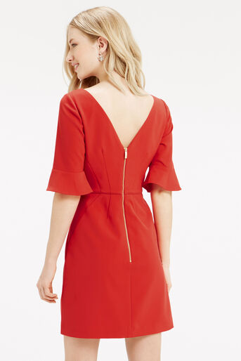 Oasis, Bell Sleeve Dress Mid Red 3