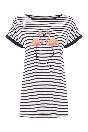 Oasis, stripe kissing flamingo tee Multi Blue 0
