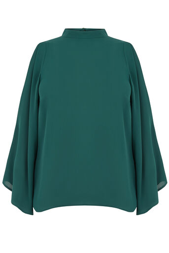 Oasis, HIGH NECK COLD SHOULDER TOP Turquoise 0