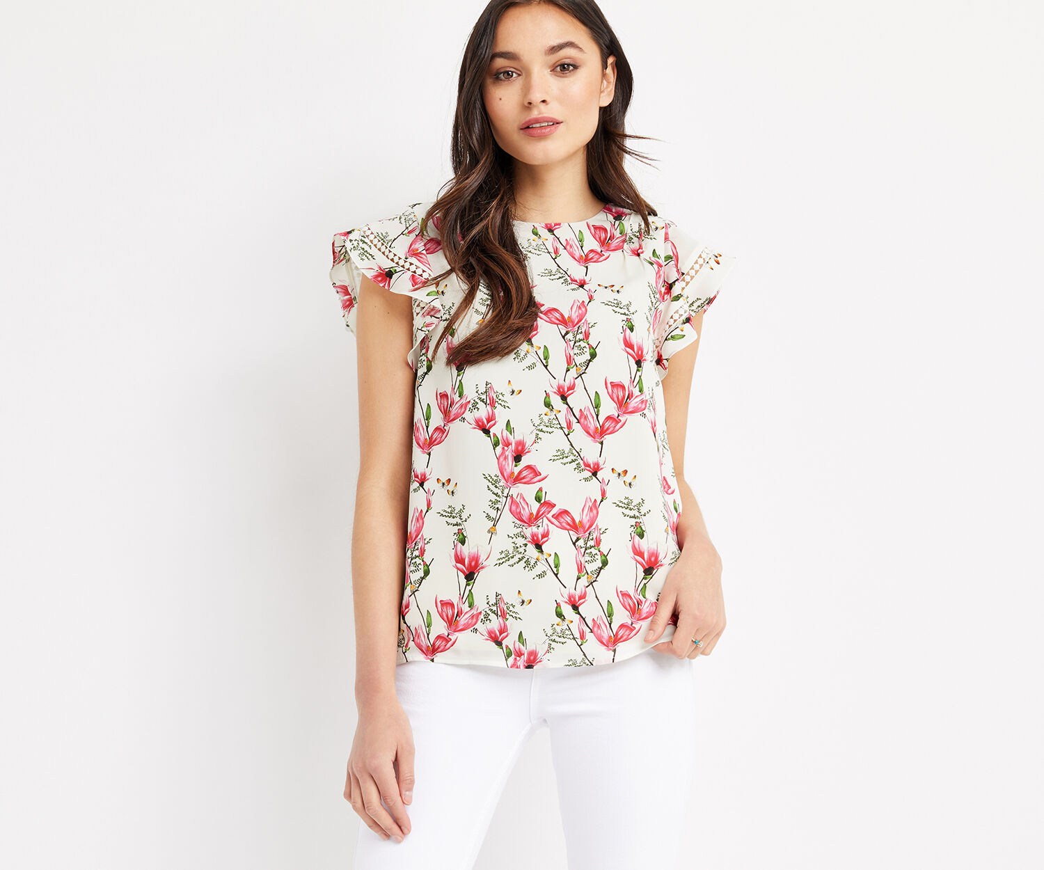Oasis, MAGNOLIA FRILL SLEEVE TOP Off White 1