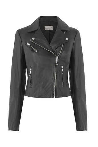 Oasis, LEATHER BIKER JACKET Black 0