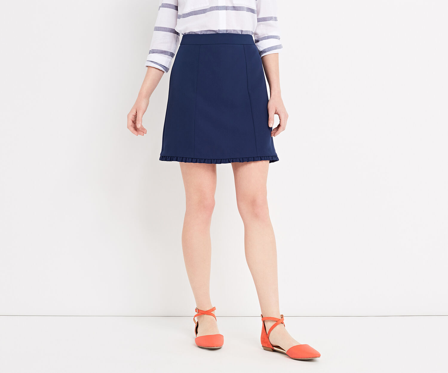 Oasis, FRILL DETAIL SMART SKIRT Navy 1