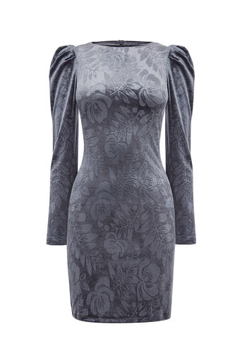 Oasis, NTU LACE PUFF SLEEVE DRESS Dark Grey 0