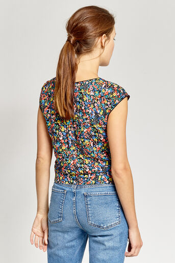Oasis, DITSY TIE FRONT TEE Multi 3