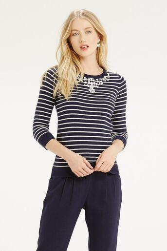 Oasis, Embellished Stripe Neck Top Multi 1