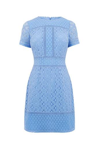 Oasis, ISLA LACE SHIFT DRESS Light Blue 0