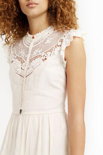 Oasis, Delicate Lace Yoke Shirt Dress Off White 4