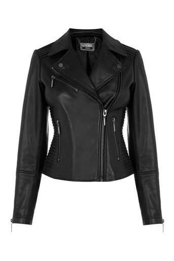 Oasis, LEATHER PLEATED BIKER JACKET Black 0