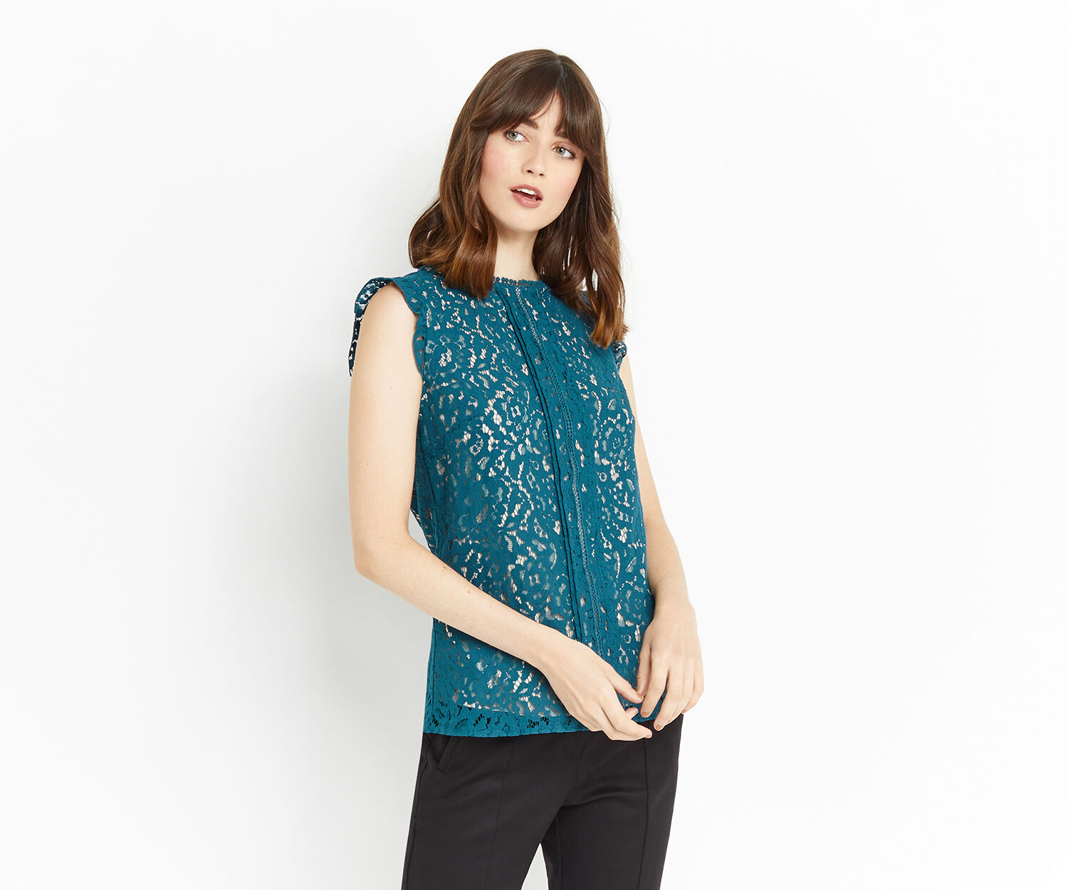 Oasis, LACE TRIMMED SHELL TOP Turquoise 1