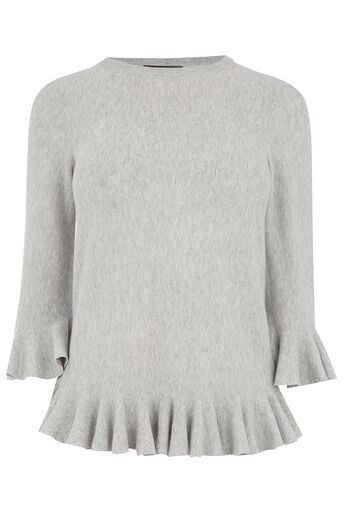 Oasis, RUFFLE SLEEVE AND HEM KNIT Mid Grey 0