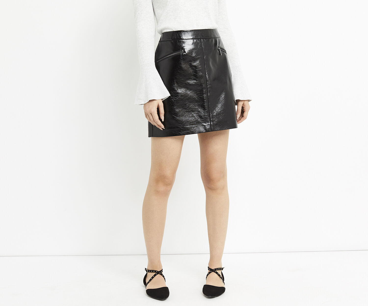 Oasis, PATENT FAUX LEATHER MINI Black 1