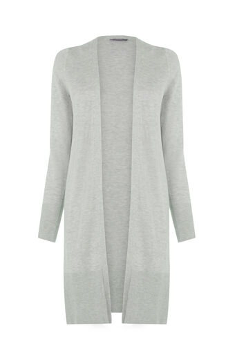 Oasis, Rib Trim Edge To Edge Cardigan Pale Grey 0